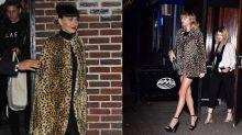 Taylor Swift and Katy Perry Step Out in NYC Wearing Matching Animal Print Coats -- Who Wore It Best?