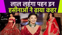 Bollywood Actress Sparkle in Red Monochrome Lehenga