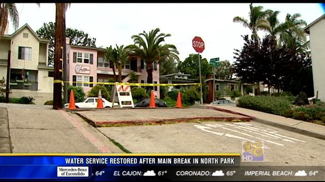 Water service restored after main break in North Park