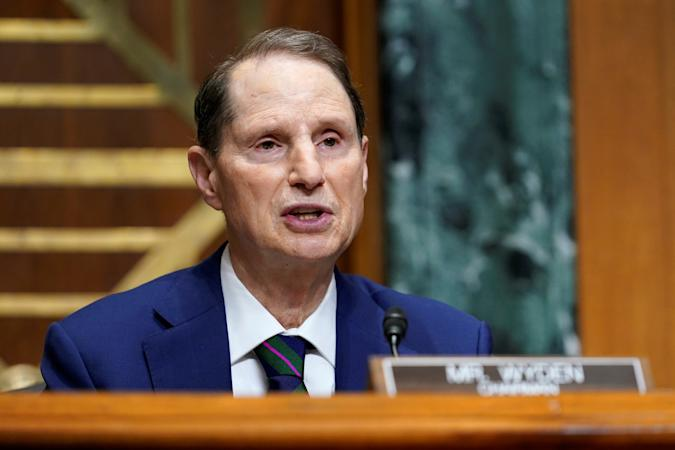 U.S. Senator Ron Wyden (D-OR) speaks during a hearing with U.S. Trade Representative Katherine Tai before the Senate Finance Committee on Capitol Hill in Washington, U.S., May 12, 2021.  Susan Walsh/Pool via REUTERS
