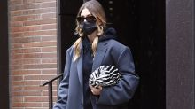 Hailey Baldwin's Slick Leather Leggings, Combat Boots and Hoodie Prove Power Dressing Can Still Be Cozy This Fall