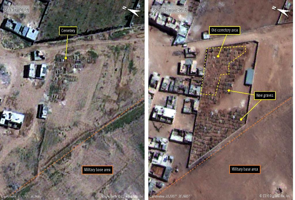 Satellite image of the Saydnaya prison -- one of Syria's largest detention centres -- one taken in 2010 (left) and the other taken in 2016 (AFP Photo/)