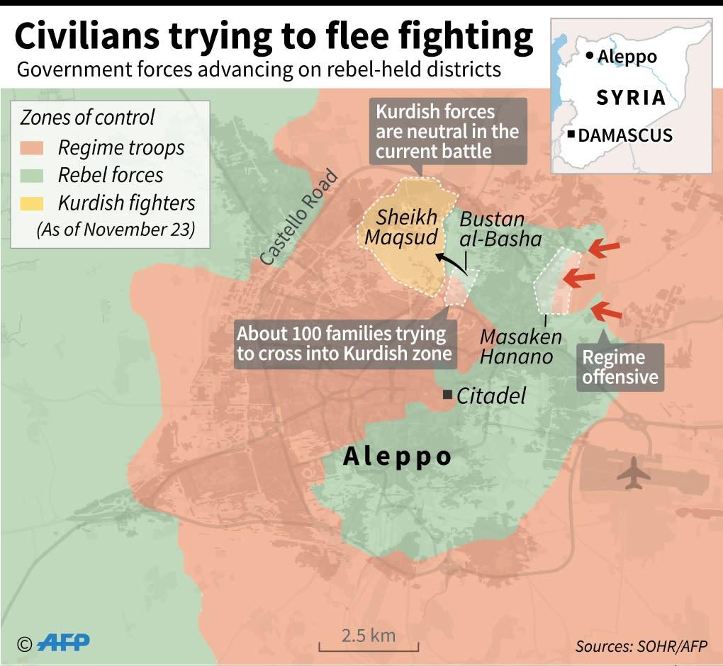 Civilians trying to flee Aleppo (AFP Photo/Kun Tian, Sabrina Blanchard, Thomas Saint-Cricq)
