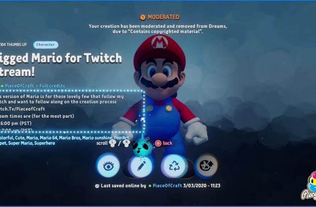 'Dreams' player forced to remove his fan-made Mario assets