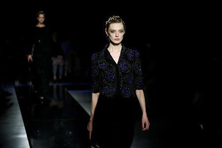 Giorgio Armani presents a 'Rhapsody in Blue' at Milan fashion show