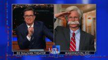 Dana Carvey portrays John Bolton as an unhinged warmonger on 'The Late Show'