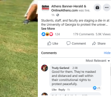 'I can't teach when I'm dead.' UGA staff, students hold die-in over reopening plans