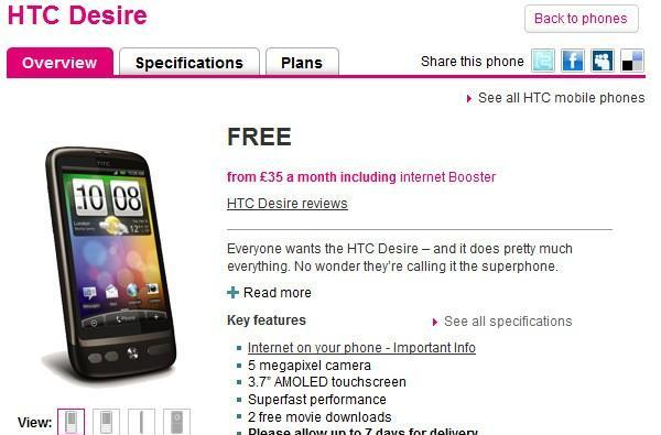 HTC Desire hits T-Mobile UK, black prototype spotted online