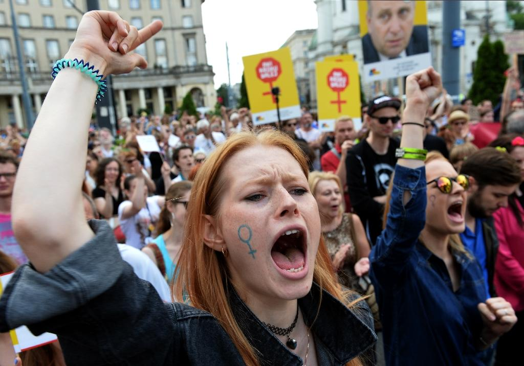 Pro-choice campaigners demonstrate in Warsaw, Poland in June 2016 against proposed changes to the country's restrictive abortion law (AFP Photo/Janek Skarzynski)
