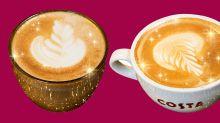 Costa is celebrating Xmas with glittery coffee