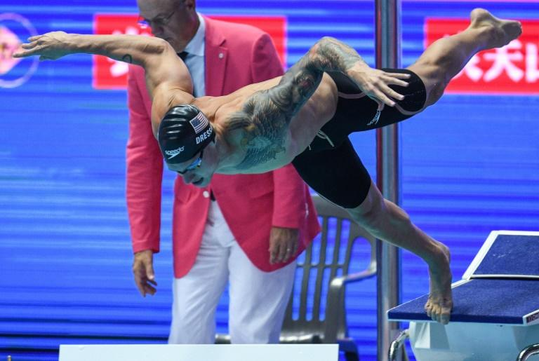 28fa968fde0 Caeleb Dressel dives at the start of the 100m freestyle semi-final