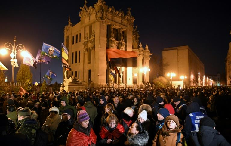 Zelensky's predecessor as president, Petro Poroshenko, was among those who called the rally (AFP Photo/Sergei SUPINSKY)