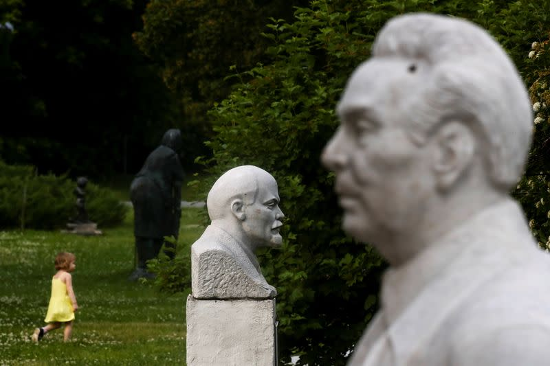 Busts of Soviet leaders Lenin and Brezhnev are on display in Moscow