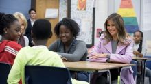 Melania Trump wears £1,760 pink coat to promote anti-bullying campaign in Michigan