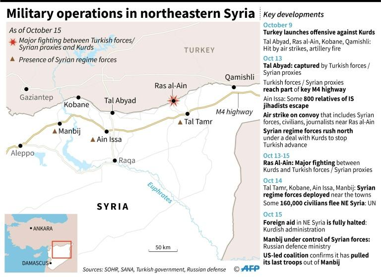 Map of northeastern Syria showing reported latest developments on the ground and timeline of key events, as of October 15 (AFP Photo/Gal ROMA)