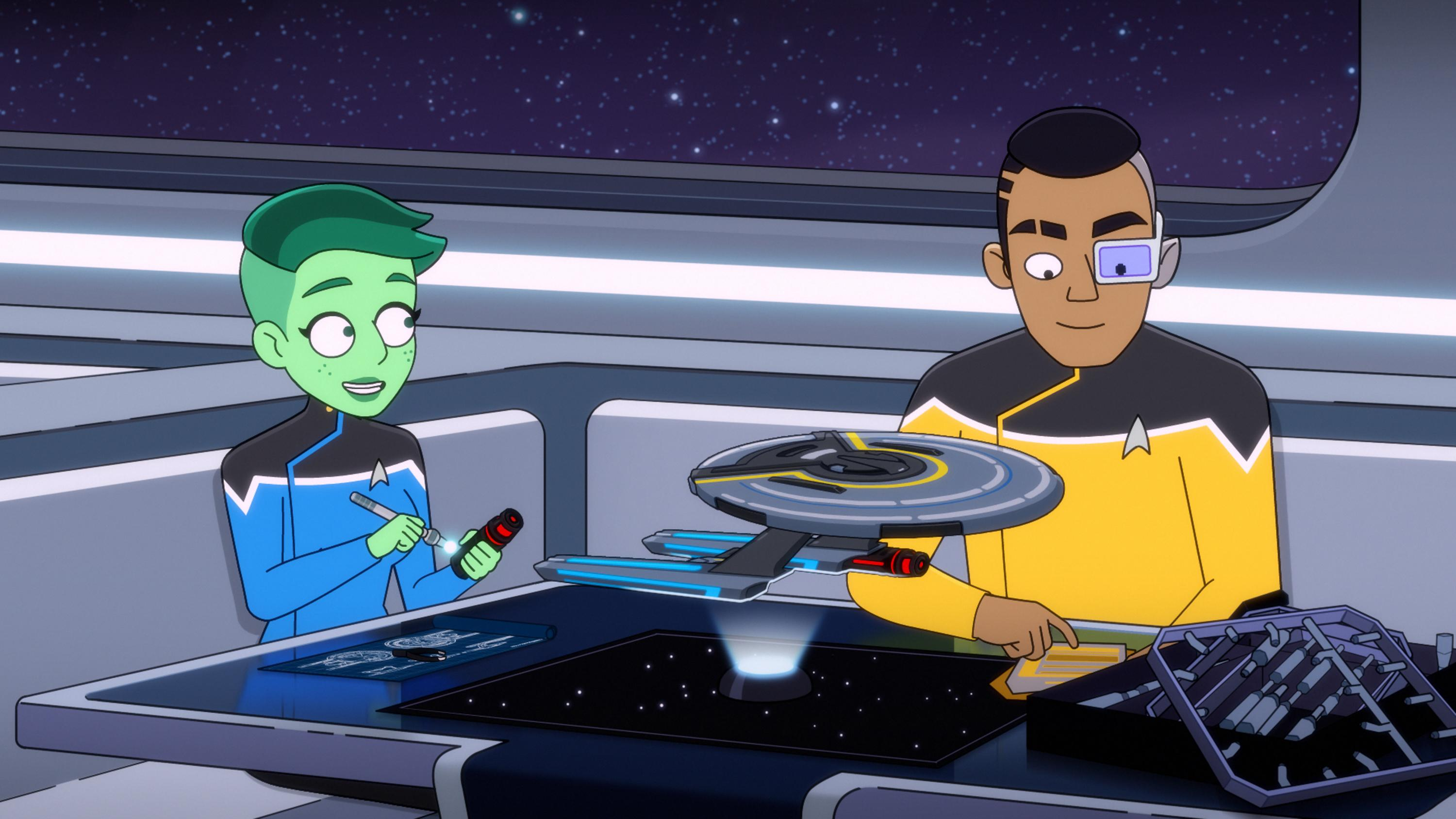 205: œAn Embarrassment of Dooplers -- Noel Wells as Ensign Tendi and  Eugene Cordero as Ensign Rutherford of the Paramount+ series STAR TREK: LOWER DECKS. Photo: PARAMOUNT+ ©2021 CBS Interactive, Inc. All Rights Reserved **Best Possible Screen Grab**