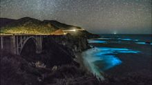 Amazing photos of bioluminescent phytoplankton glowing blue in the sea in Big Sur, California