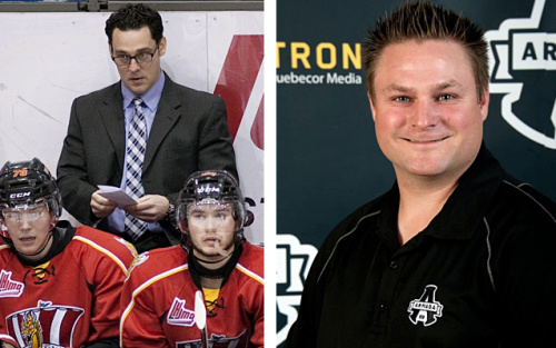 Drakkar coach Eric Veilleux (left) and Armada coach J-F Houle left their teams this week to coach in the pro ranks, leaving both teams without a head coach. ( CP / Ghyslain Bergeron (L), bakersfieldcondors.com (R) )