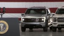 President Biden reveals Ford's electric F-150 a day early in factory speech