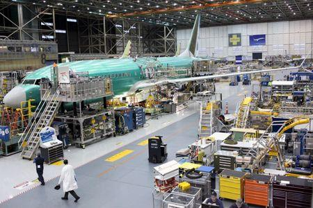 A Boeing 737 MAX plane is seen during a media tour of the Boeing plant in Renton, Washington