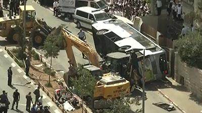 Raw: Excavator Used in Jerusalem Bus Attack