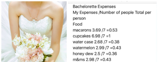 Bride leaves friends baffled with hen's party invoice