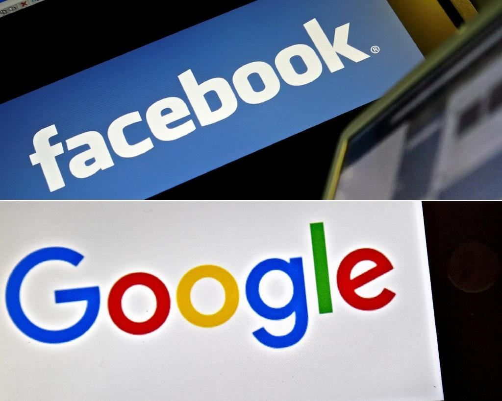 While online plaforms such as Google and Facebook capture the vast majority of advertising revenue, they do not create any original news, Australia's competition watchdog says (AFP Photo/LEON NEAL, LOIC VENANCE)