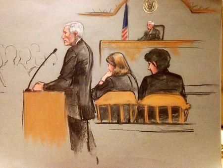 Defense attorney David Bruck presents his opening arguments during the first day of the defense's presentation in the penalty phase of the trial of Boston Marathon bomber Dzhokhar Tsarnaev in this court sketch in Boston, Massachusetts, United States April 27, 2015. REUTERS/Jane Collins
