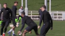 England players train with a rubber chicken before Euro 2020 qualifier