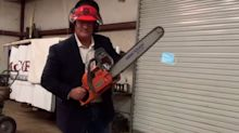 A Louisiana lawmaker posted a video taking a chainsaw to a surgical mask and complained that people who don't wear masks will be persecuted like Jews in Nazi Germany
