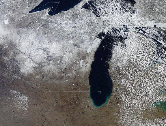 Snow covering the Lake Michigan area on April 2, 2013.