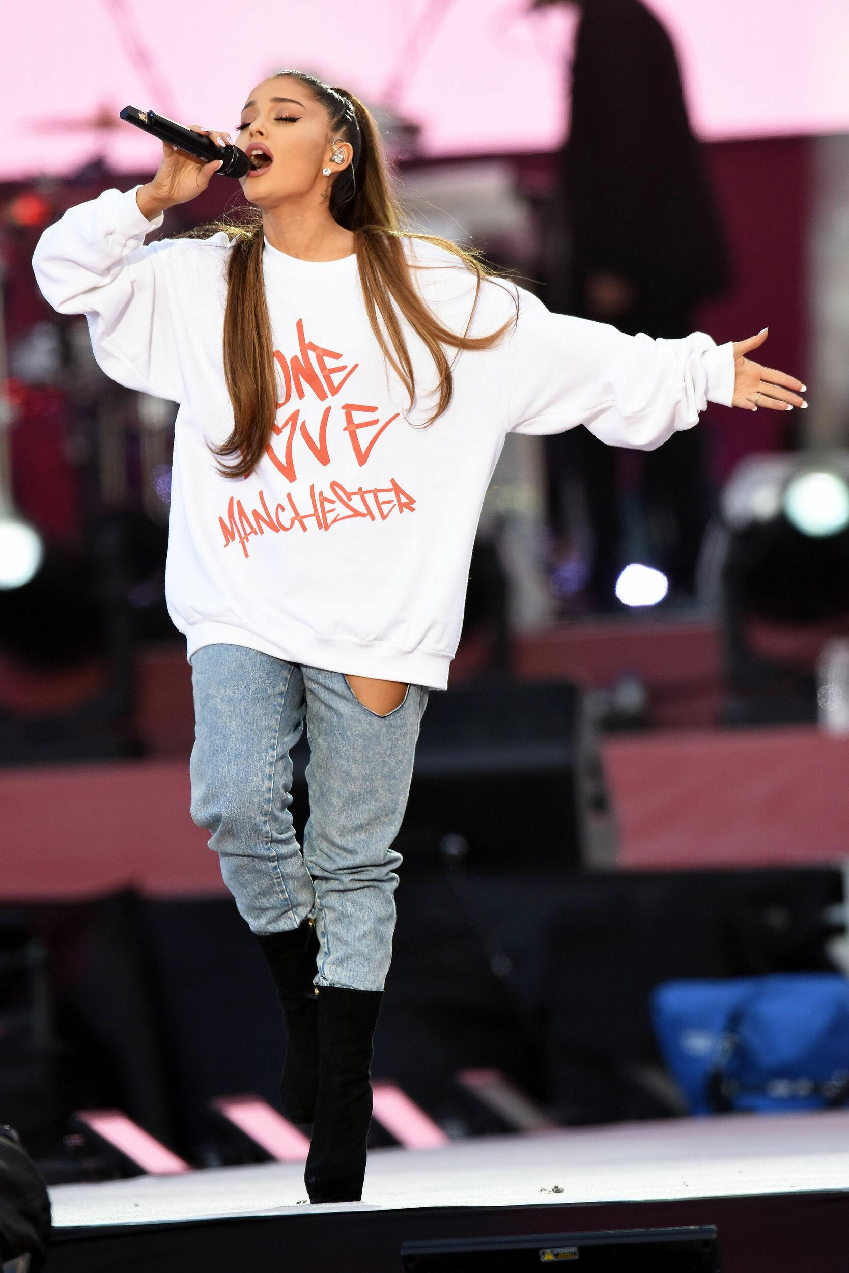 NO SALES. Free for editorial use. Handout photo issued by One Love Manchester of Ariana Grande performing during the One Love Manchester benefit concert for the victims of the Manchester Arena terror attack at Emirates Old Trafford, Greater Manchester.