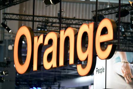 FILE PHOTO: The logo of French telecoms operator Orange at the Viva Tech start-up and technology summit in Paris, France, May 25, 2018. REUTERS/Charles Platiau/File Photo