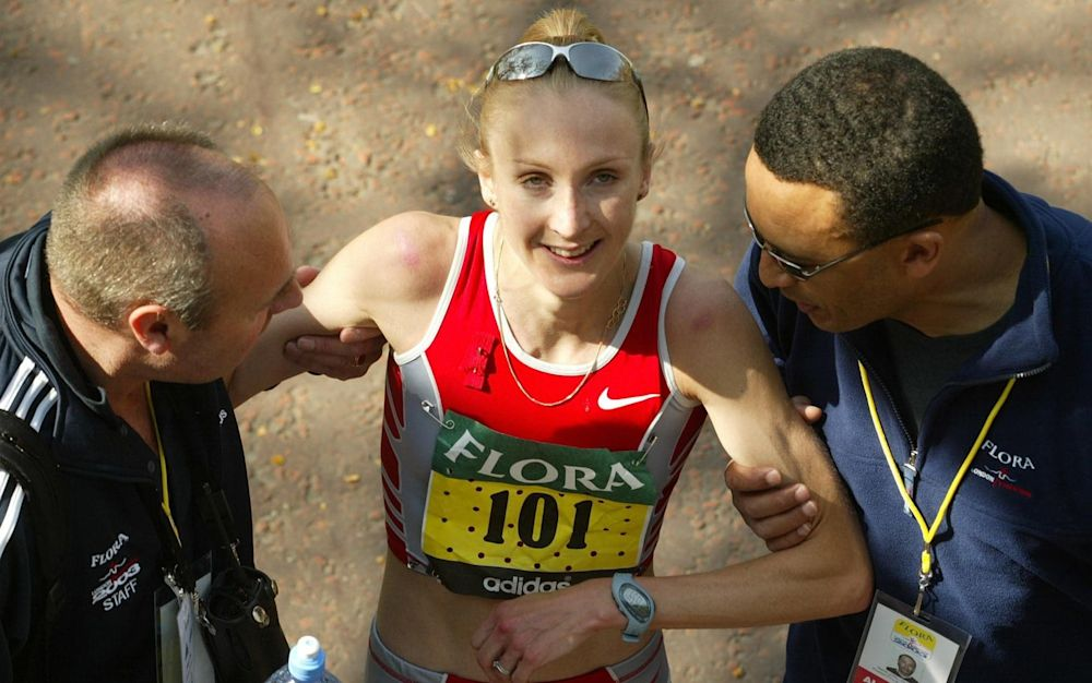 Paula Radcliffe sets the marathon world record in London in 2003 - AP