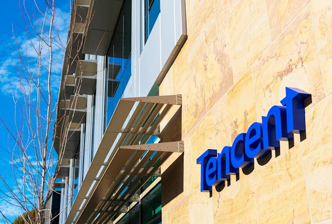 Tencent logo on Silicon Valley office a Chinese multinational conglomerate holding company - Palo Alto, California, USA - 2020