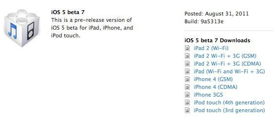 iOS 5 beta 7 goes live for developers