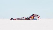 Watch a woman take bicycle speed world record behind 800 hp dragster