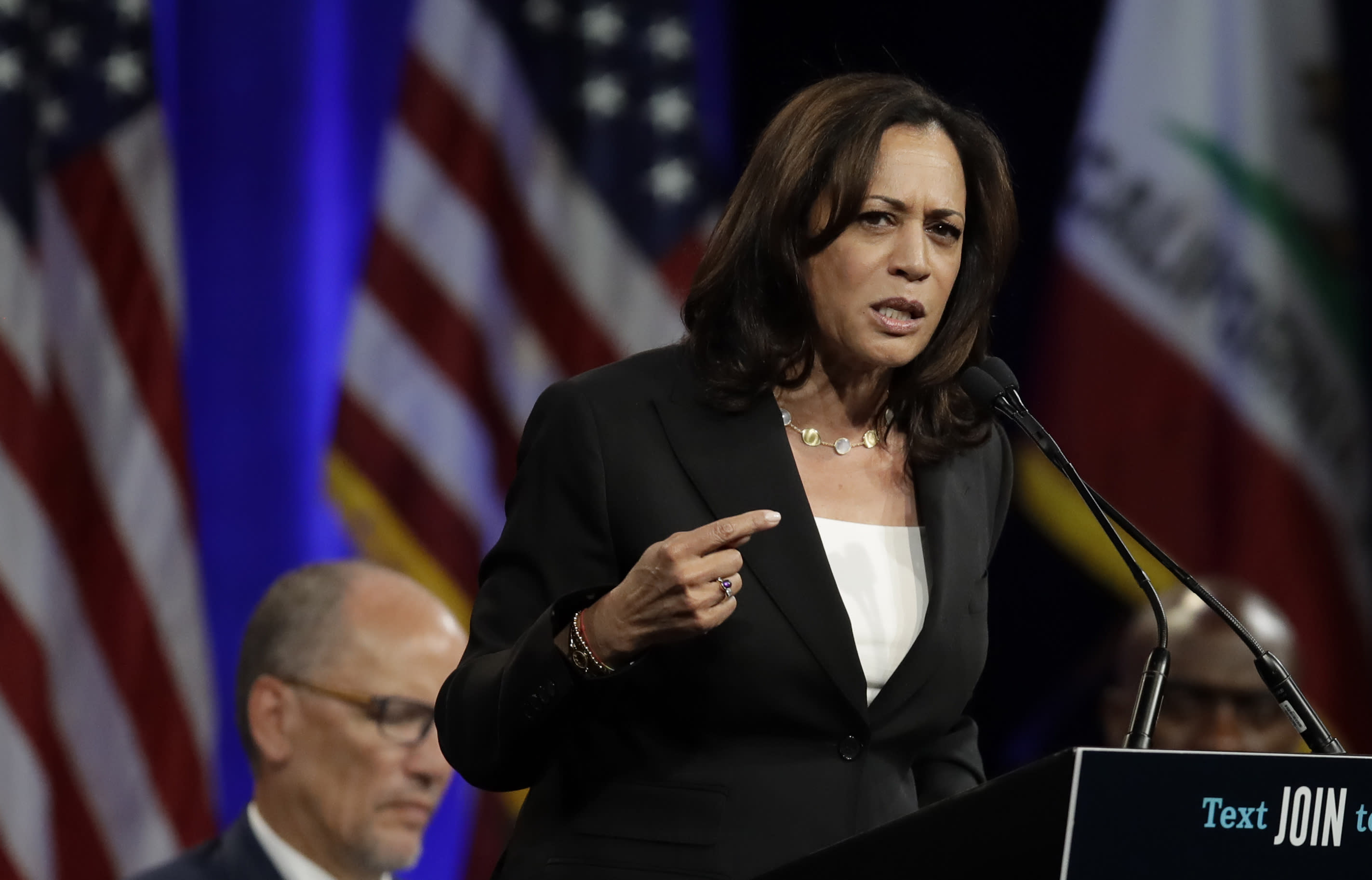 Democratic presidential candidate Sen. Kamala Harris, D-Calif., gestures while speaking at the Democratic National Committee's summer meeting Friday, Aug. 23, 2019, in San Francisco. More than a dozen Democratic presidential hopefuls are making their way to California to curry favor with national party activists from around country. Democratic National Committee members will hear Friday from top contenders, including Elizabeth Warren, Harris and Bernie Sanders. (AP Photo/Ben Margot)