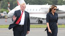 Melania Trump opts for an affordable $200 Ralph Lauren striped dress for weekend trip