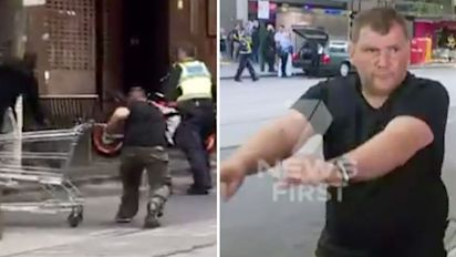 Cop hits out at Bourke St trolley man over 'heroic' act