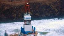 Raw: Oil Rig Aground in Choppy Seas, High Winds