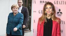 Cathy Hummels und Angela Merkel lachen über ihre Outfitwahl