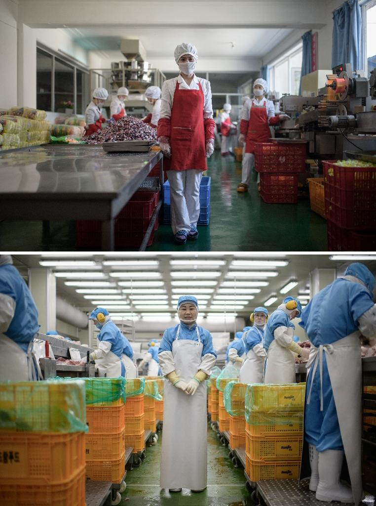 Hong Kum Ju (top) at the food factory where she works near North Korea's eastern port city of Wonsan, North Korea, and Kim Si-eun (bottom) at the Spam factory where she works in Jincheon, south of Seou (AFP Photo/Ed JONES)