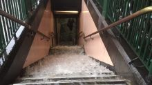 Floodwater Gushes Down Steps to Train Station as Deluge Hits Melbourne