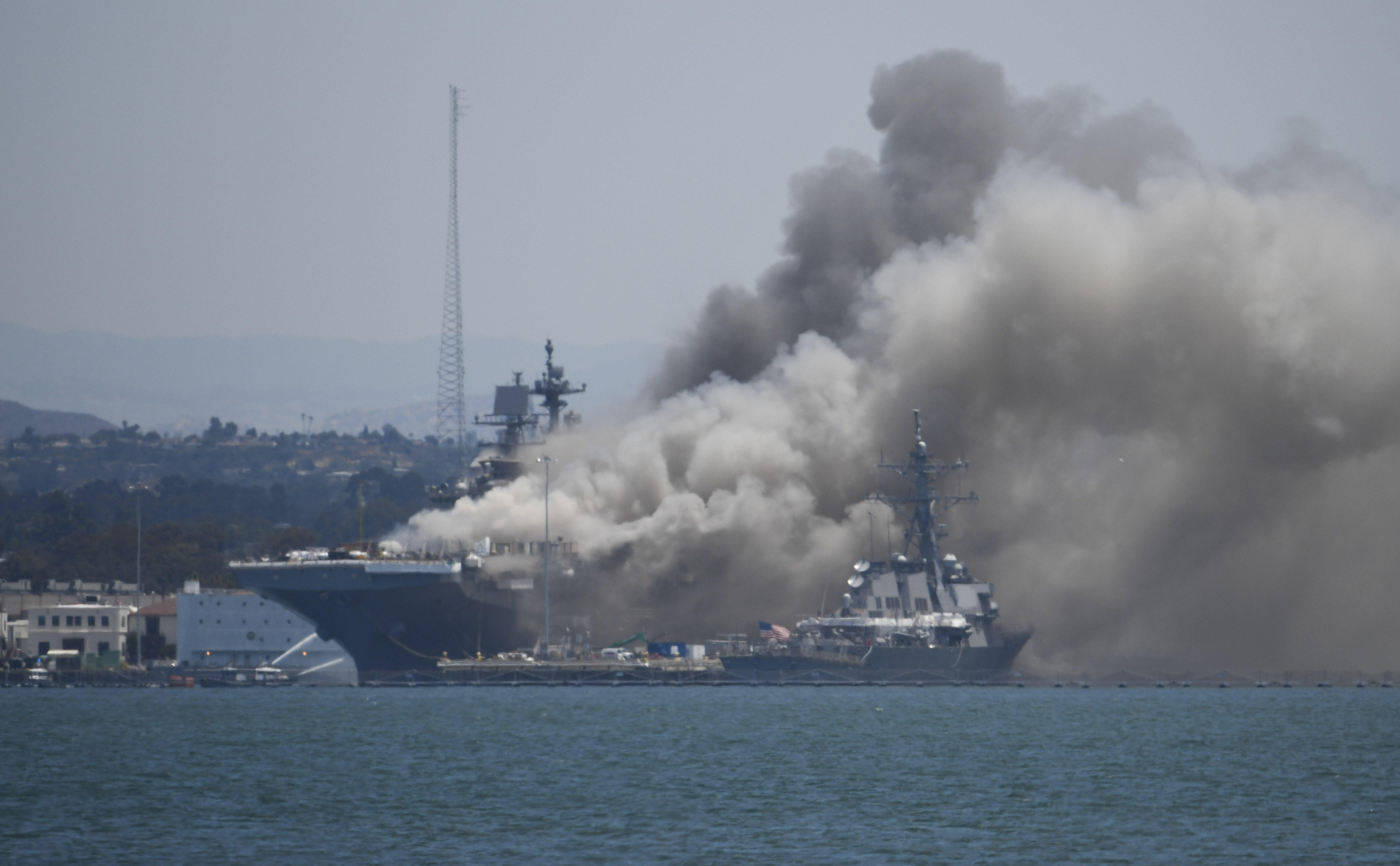 Fire erupts on board Navy ship in San Diego, injuring 17 sailors