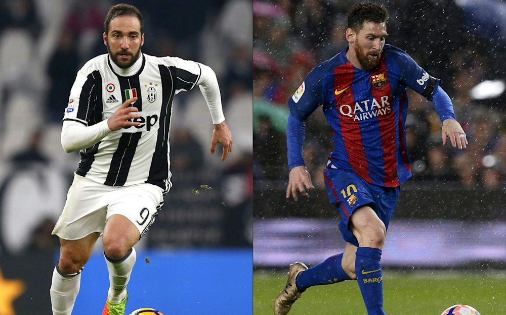 Juventus' forward Gonzalo Higuain will go up against Barca's Lionel Messi in the Champions League - AFP
