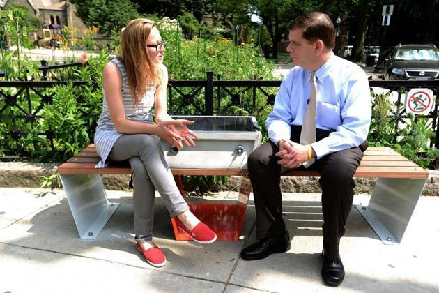 Boston turns park benches into solar-powered charging points