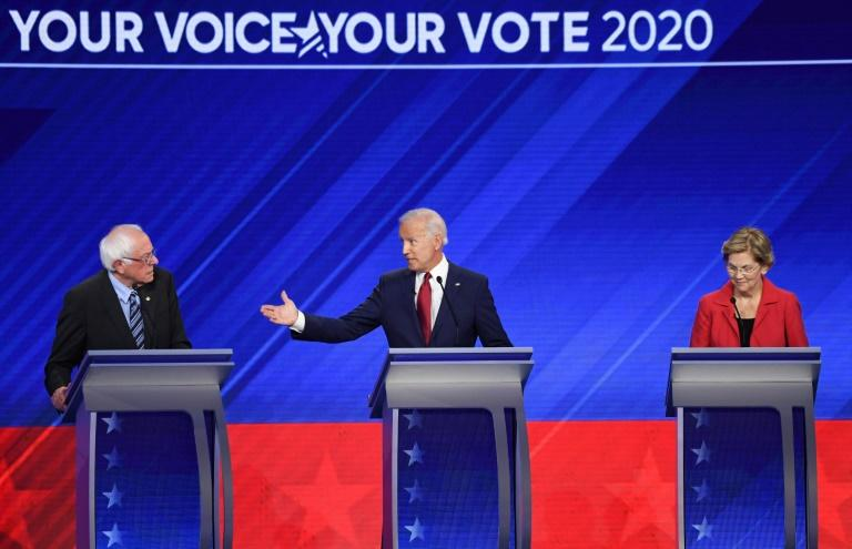 The 10 Democrats seeking the party nomination found common ground in their determination to oust Donald Trump and on the urgency of tackling climate change (AFP Photo/Robyn BECK)