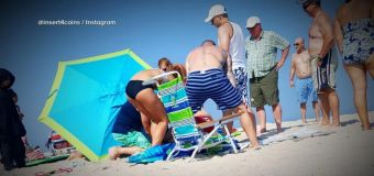 Woman impaled in chest by beach umbrella