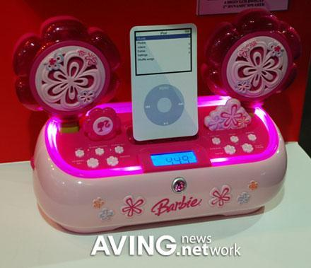 The Barbie iPod dock: yes, it's pink and flowery